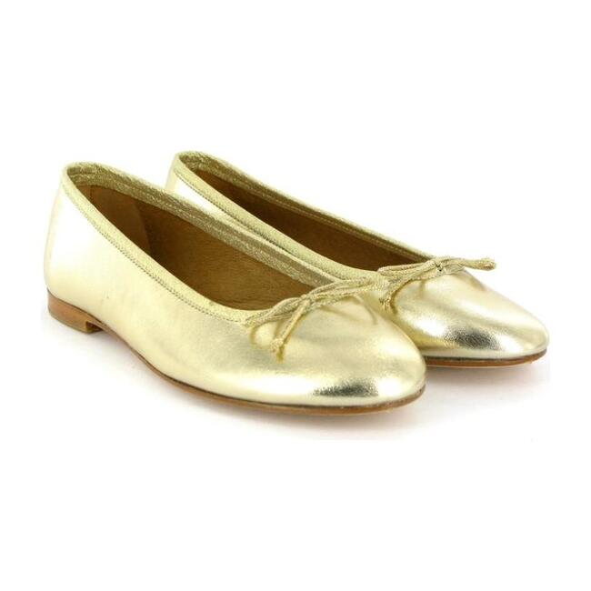 Metallic Leather Ballerina, Gold
