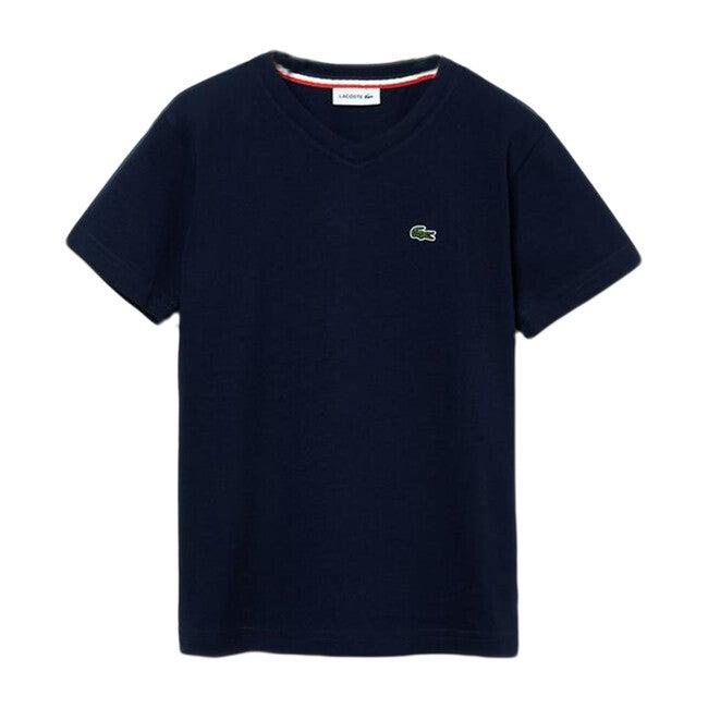 V-Neck Cotton T-Shirt, Navy