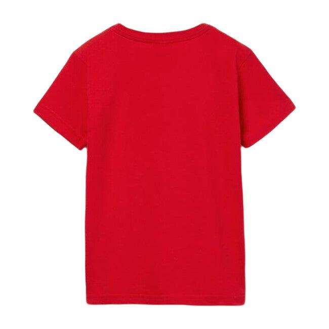 V-Neck Cotton T-Shirt, Red