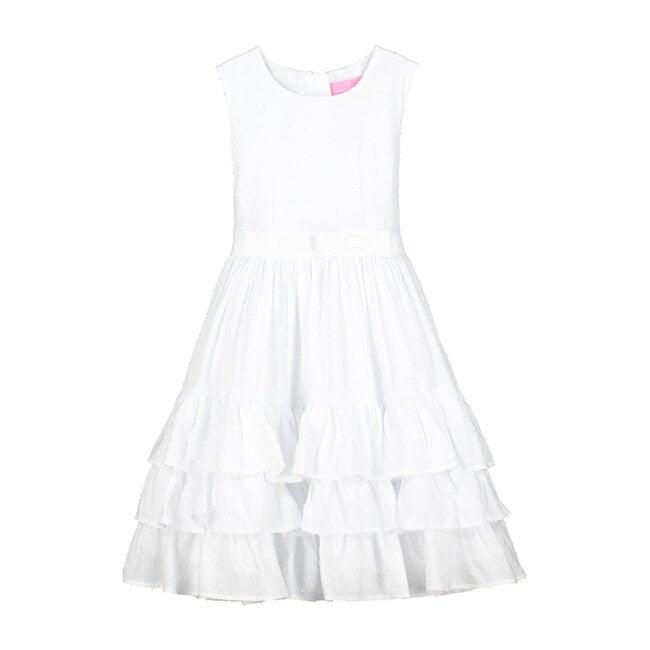 Arabella White Cotton Dobby Girls Party Dress