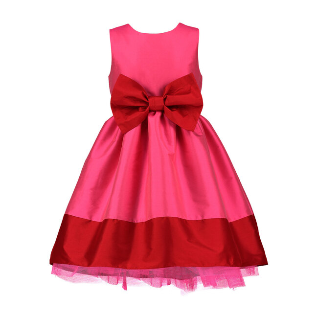 Florence Party Dress, Pink & Red Taffeta Bow