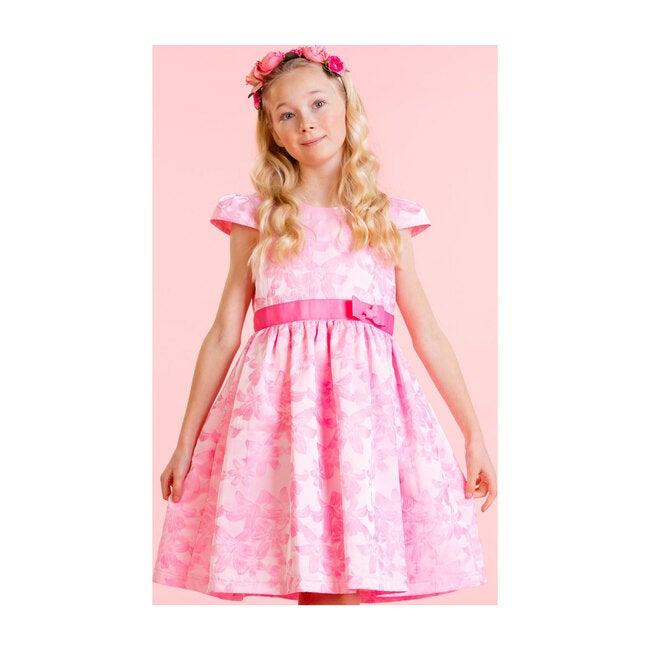 Sienna Pink Floral Jacquard Girls Party Dress