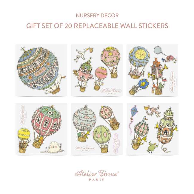 Set of 20 Replaceable Wall Stickers, Hot Air Balloons - Wallpaper - 1 - zoom