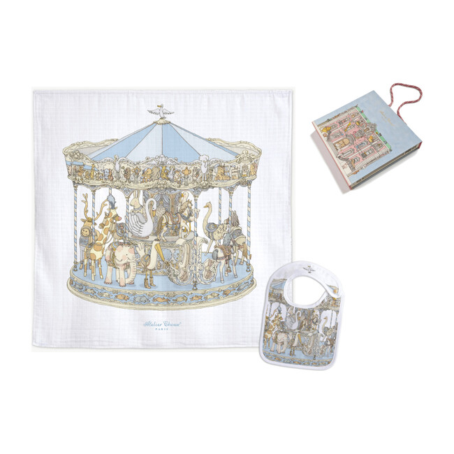 Swaddle & Bib Gift Set, Carousel Blue