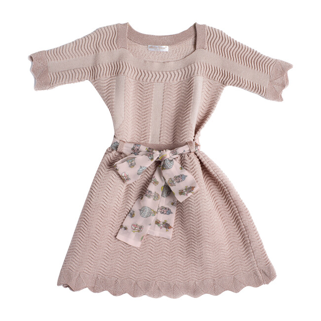 Knitted Sash Dress, Light Pink