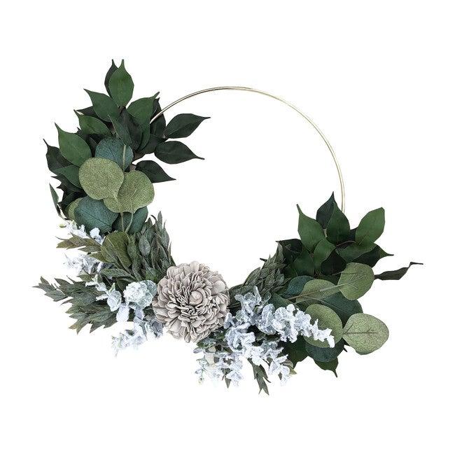 Farmhouse Hoop Wreath, Gray Dahlia