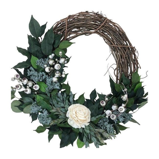 Farmhouse Wreath, White Rose