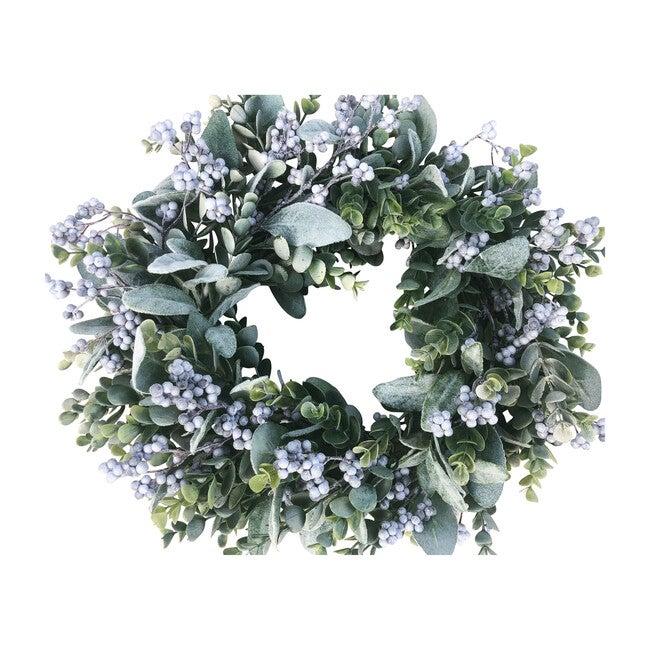 Farmhouse Spring Wreath, Gray Berries and Eucalyptus