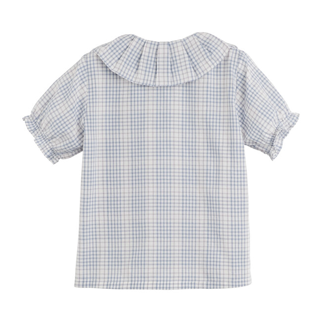 Lily Ruffle Collar Blouse, Light Blue Check