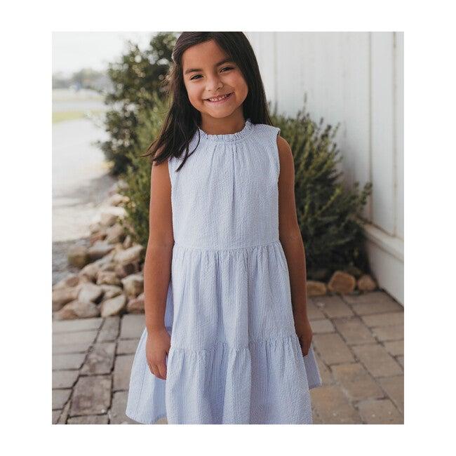Hattie Dress, Blue Seersucker