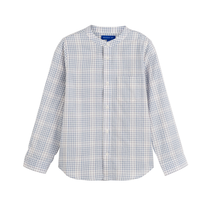 Finn Collarless Button-Down, Light Blue Check