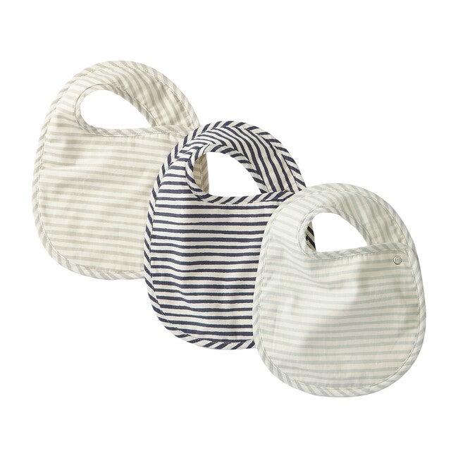 Set of 3 Striped Away Bibs, Sea Multi