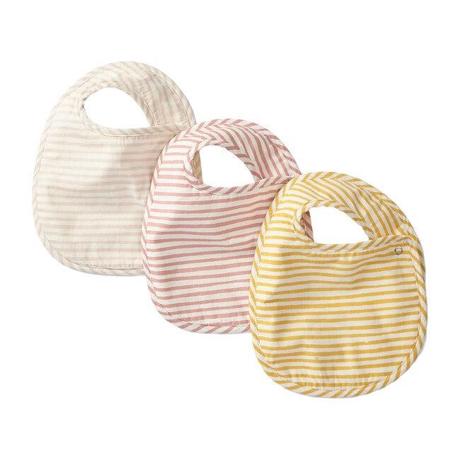 Set of 3 Striped Away Bibs, Petal Multi
