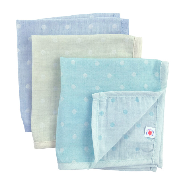 100% GOTS-Certified Organic Cotton Hanky Gift Set, Turquoise/Lime/Mint