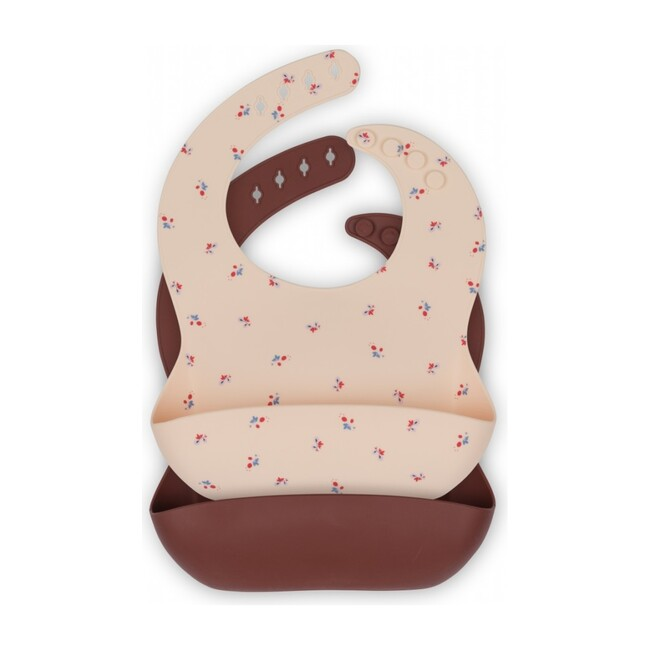 2 Pack Silicone Bib, Bloom/Bordeaux
