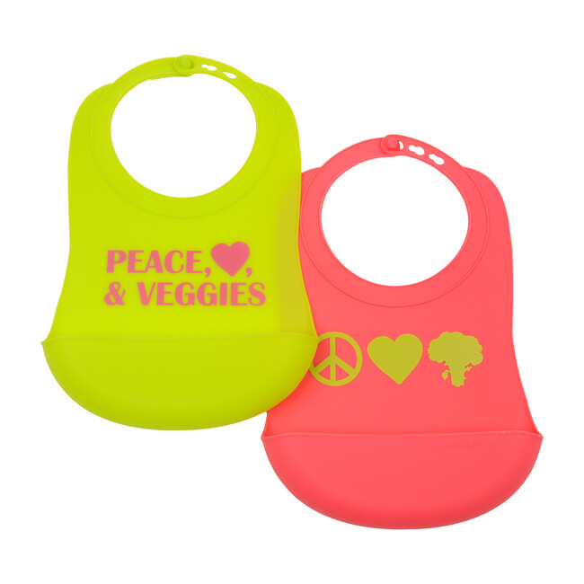 Silicone Bib (2 Pack), Bright Pink/Chartreuse