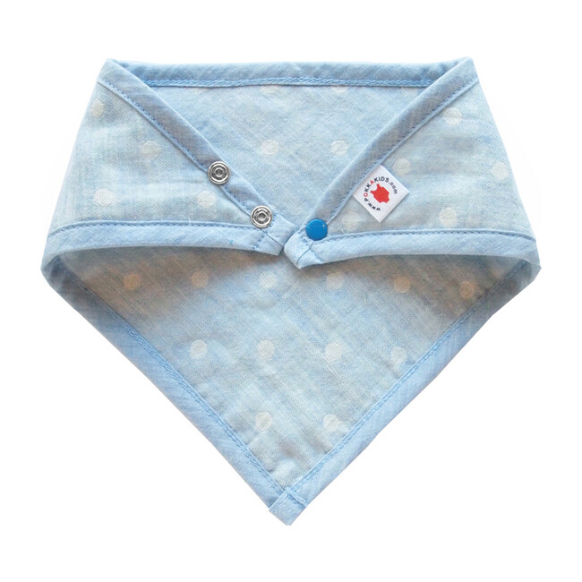 100% GOTS-Certified Organic Cotton Bandana Bib, Turquoise