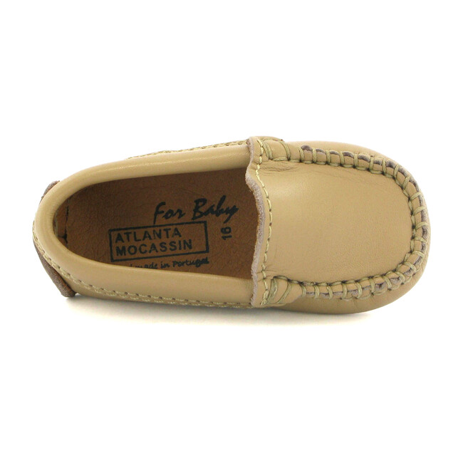 Baby Plain Vamp Moccasin in Smooth Leather, Beige