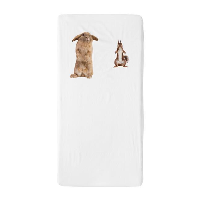 *Exclusive* Furry Friends Crib Sheet, White
