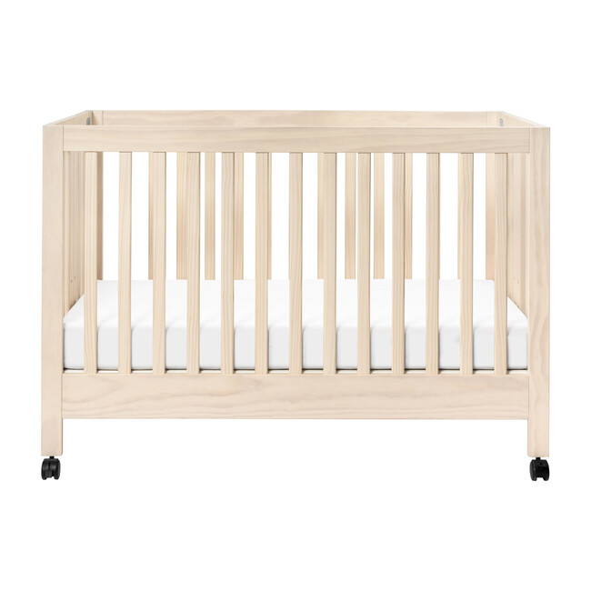 Maki Full-Size Portable Folding Crib with Toddler Bed Conversion Kit, Natural