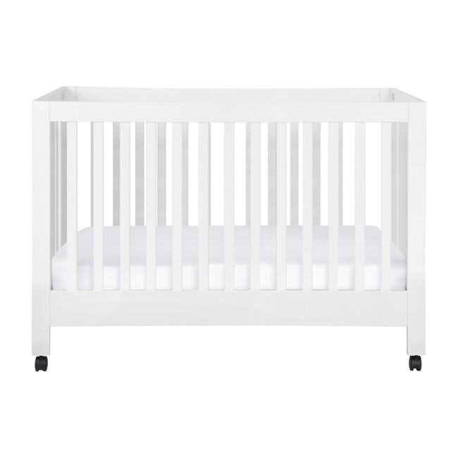 Maki Full-Size Portable Folding Crib with Toddler Bed Conversion Kit, White