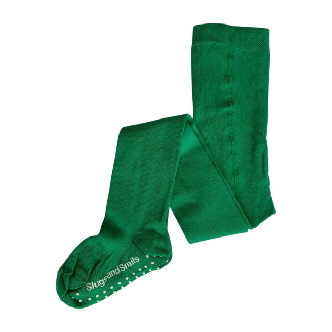 Footed Cotton Tights, Emerald Green
