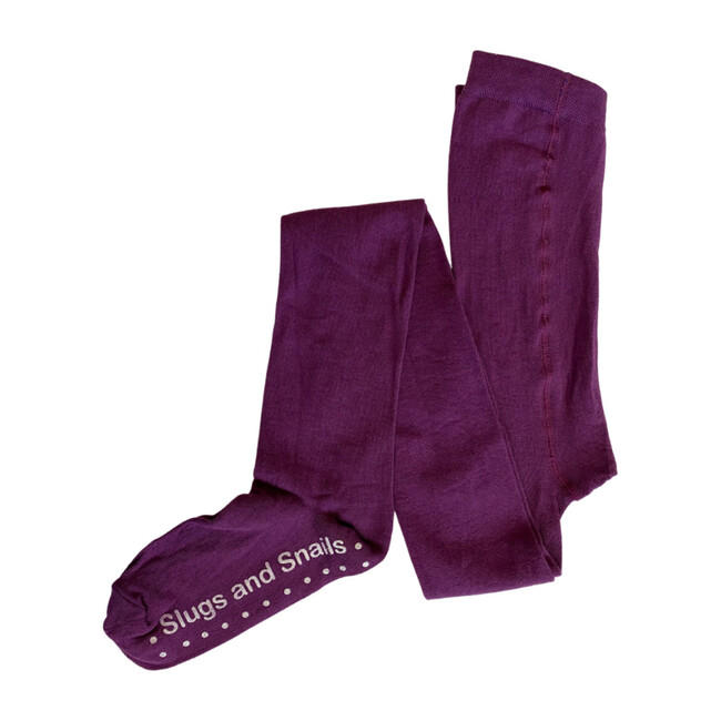 Footed Cotton Tights, Plum