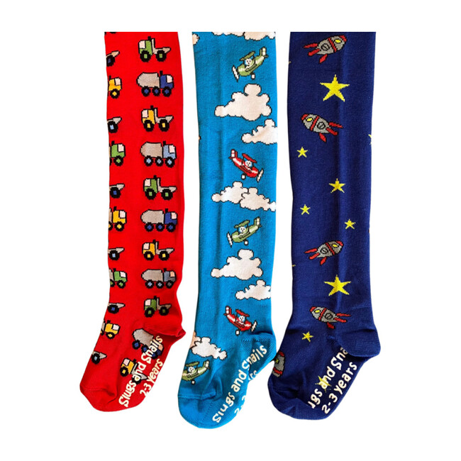 Vehicles Fooded Tights Set of Three