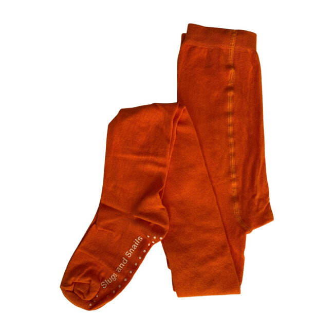 Footed Cotton Tights, Sunrise Orange