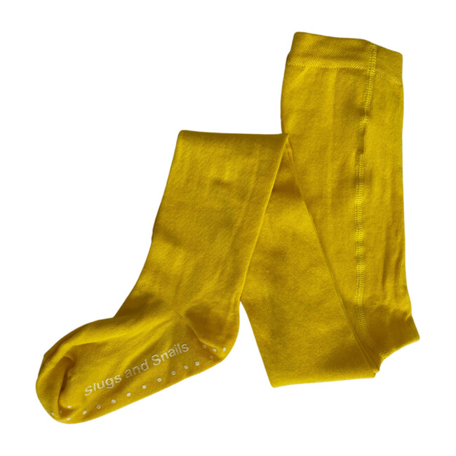 Footed Cotton Tights, Sunflower Yellow