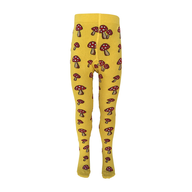 Toadstools Footed Tights, Bright Yellow