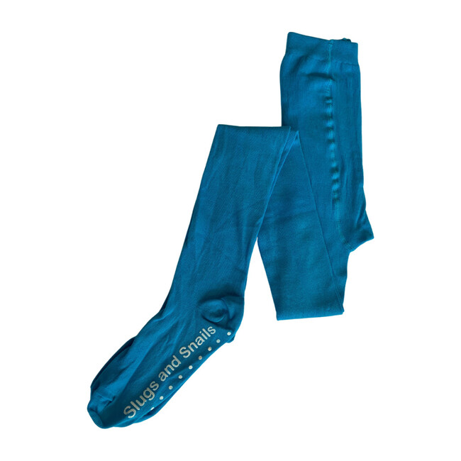 Footed Cotton Tights, Turquoise