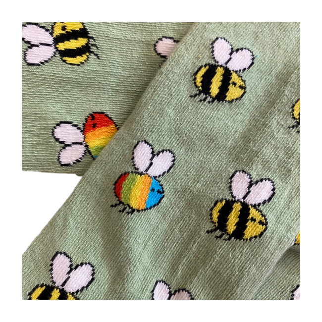 Rainbow Bees Footed Tights, Light Green
