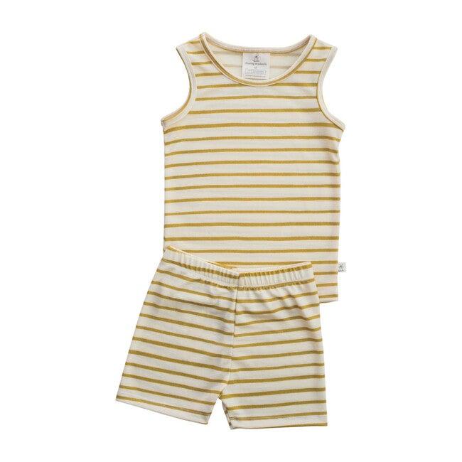 Merino Wool Short Johns, Lemongrass Stripe