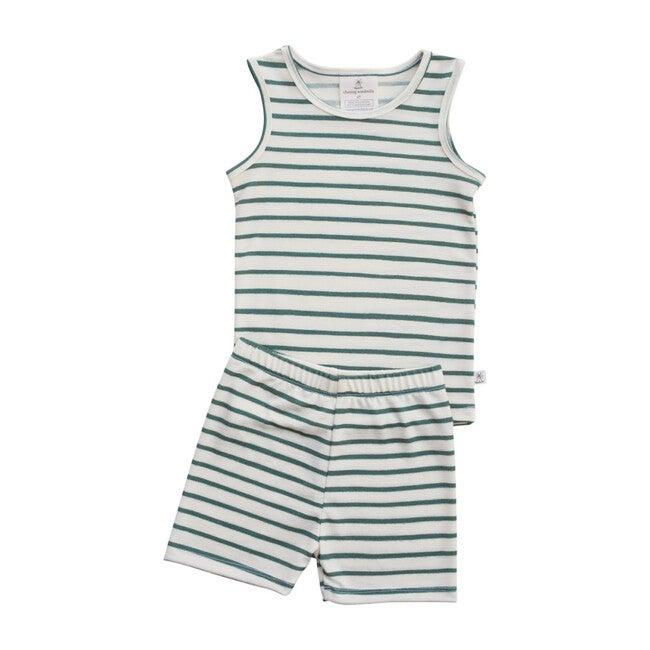 Merino Wool Short Johns, Spruce Stripe