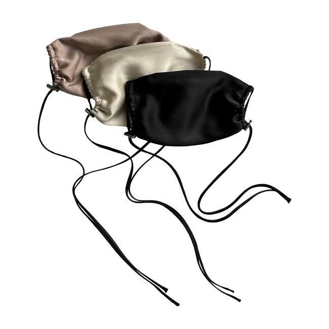 Womens  Silk Face Mask 3 Pack, Black, Bone, and Plum