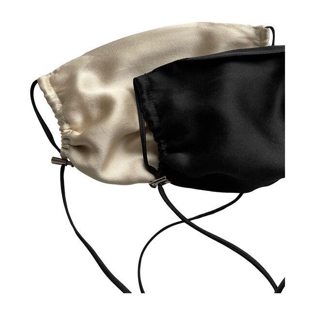 Womens  Silk Face Mask 2 Pack, Black & Bone