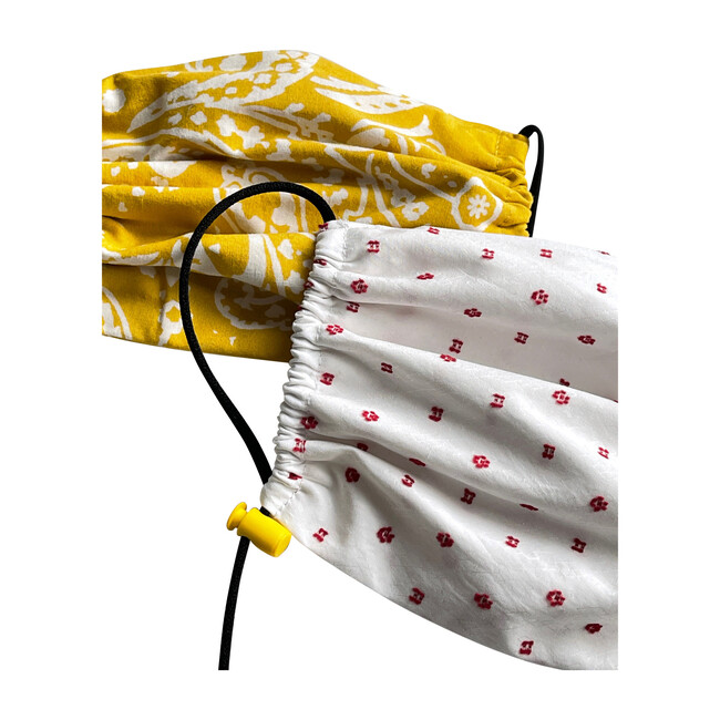 Kids Cotton Face Mask 2 Pack, Yellow Print and Red Dot