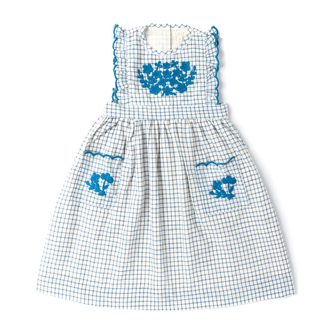 Clover Dress, Hand Embroidered White Chex