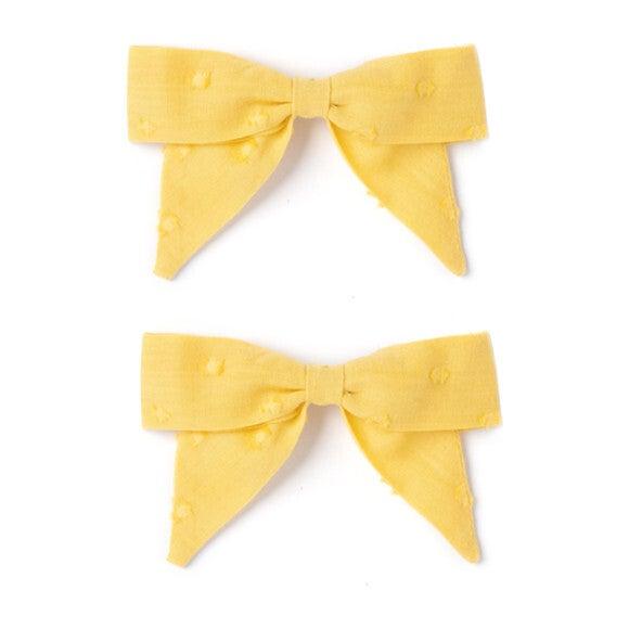 Bow Set, Mustard Swiss Dot