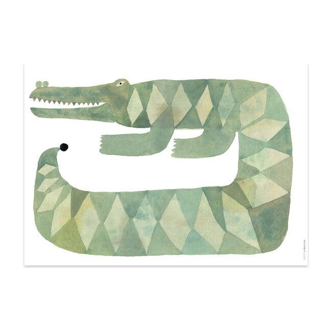 Crocodile Gustav Art Poster, Green