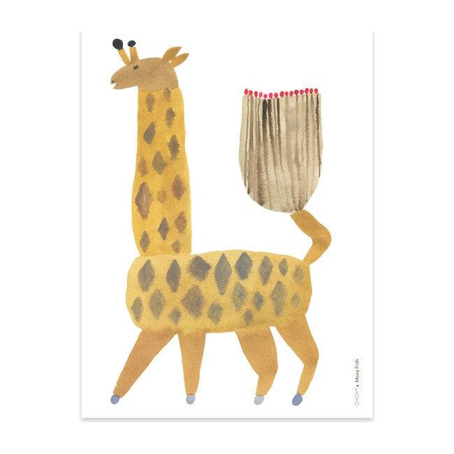 Noah Giraffe Art Poster, Yellow