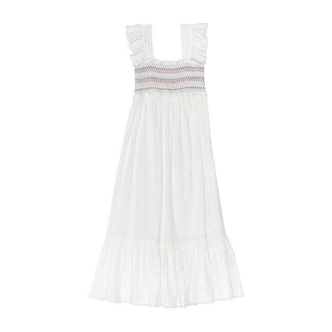 Women's Rosemary Dress, White Floral Eyelet