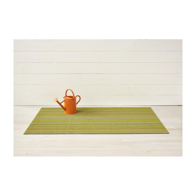 Skinny Stripe Shag Floor Mat, Citron