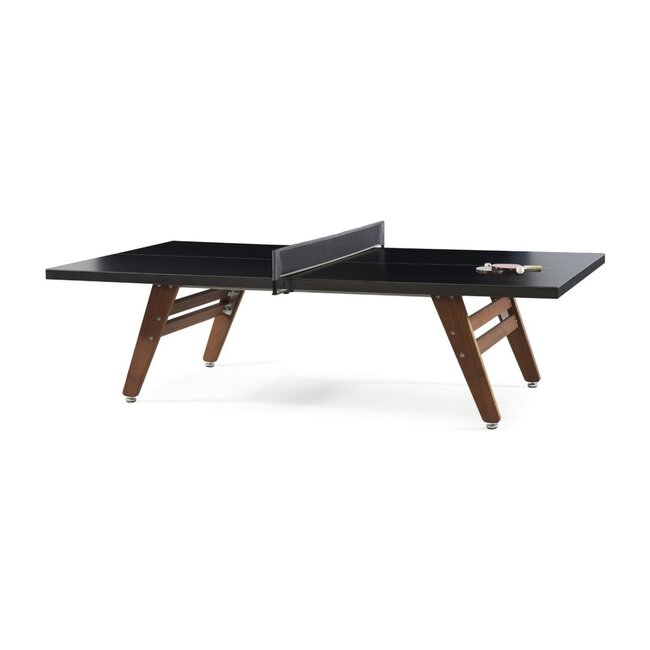 Stationary Ping Pong Table, Black/Wood