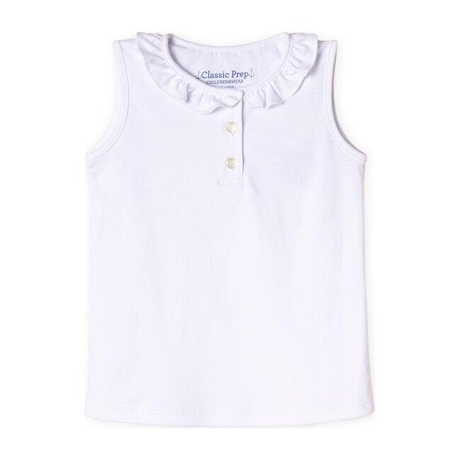 Zoe Sleeveless Pima Polo Shirt, Bright White