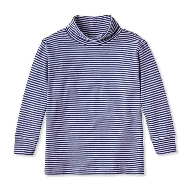 Patrick Pima Turtleneck, Bright Navy and White Stripe - Shirts - 1