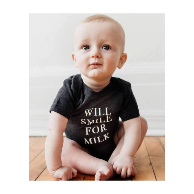 Will Smile For Milk Bodysuit, Charcoal Grey