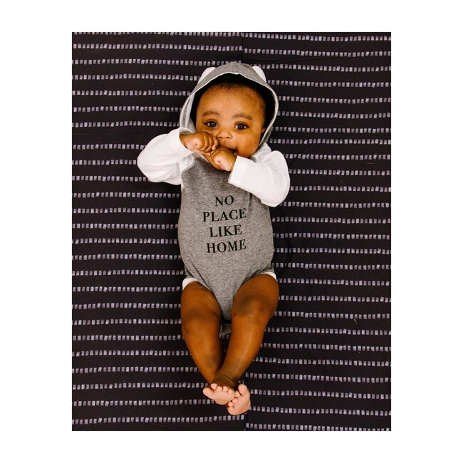 No Place Like Home Long Sleeve Bodysuit, Grey/White