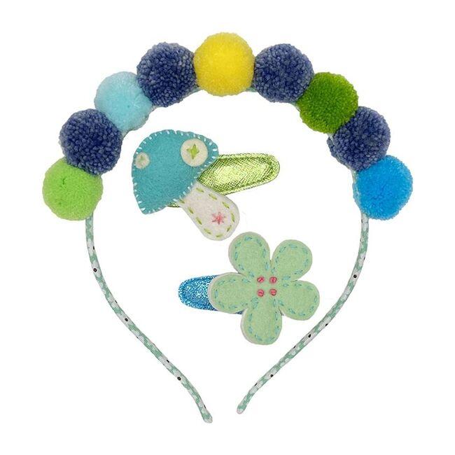 Headband & Hair Clip Set Blue, Blue & Green